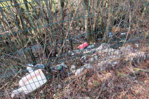 Litter across the fence from the Auchentullich layby on land that appears owned by Luss Estates
