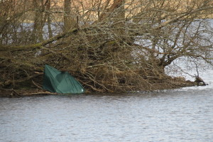Tent blown onto island Loch Chon