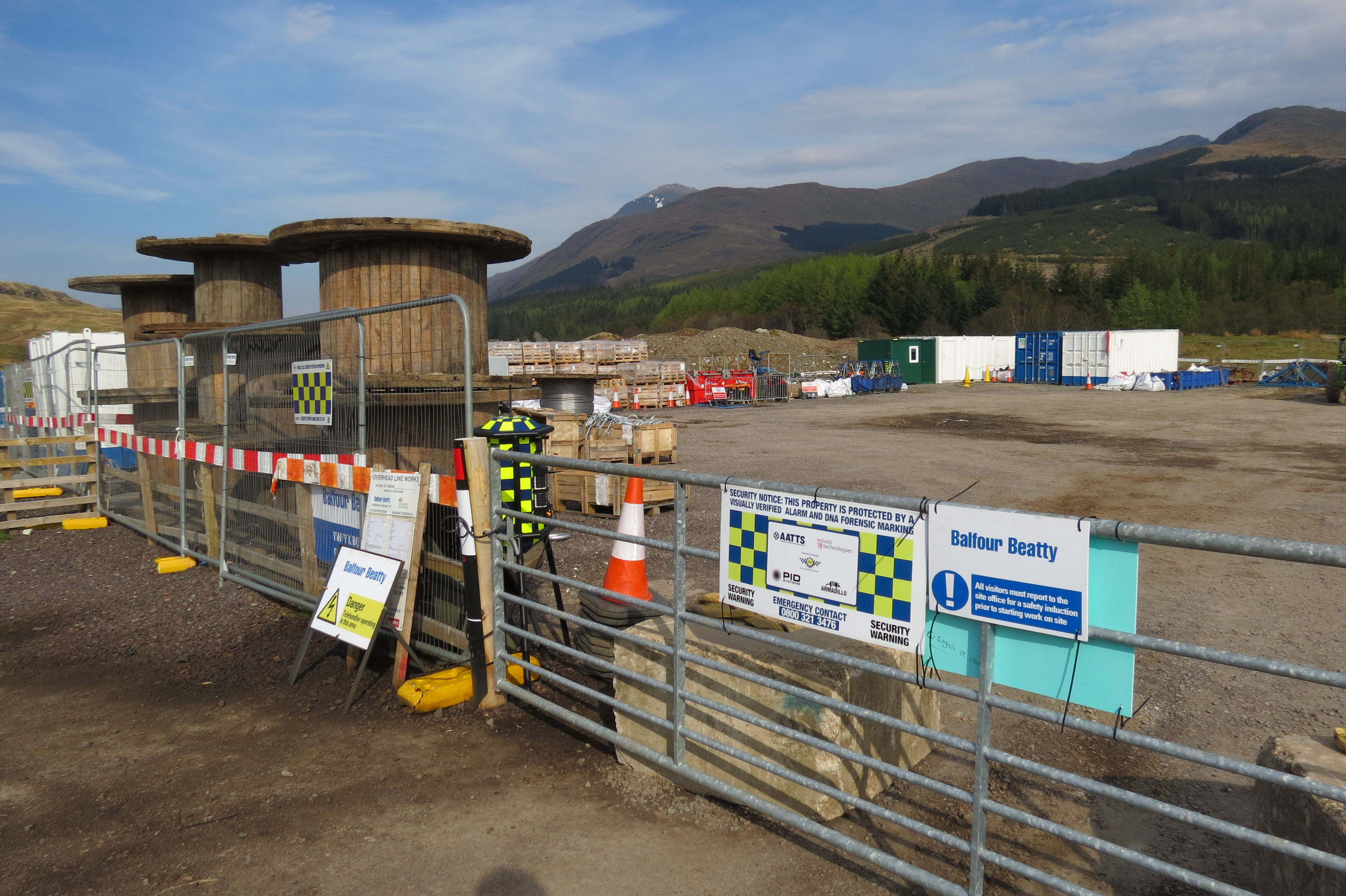The temporary industrial compound in Upper Glen Falloch