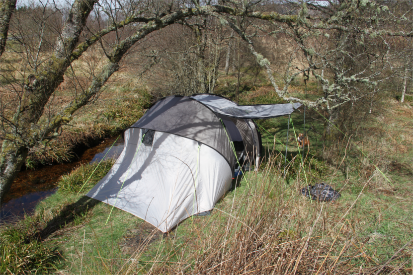 8 man tent shoehorned into 2/3 man pitch