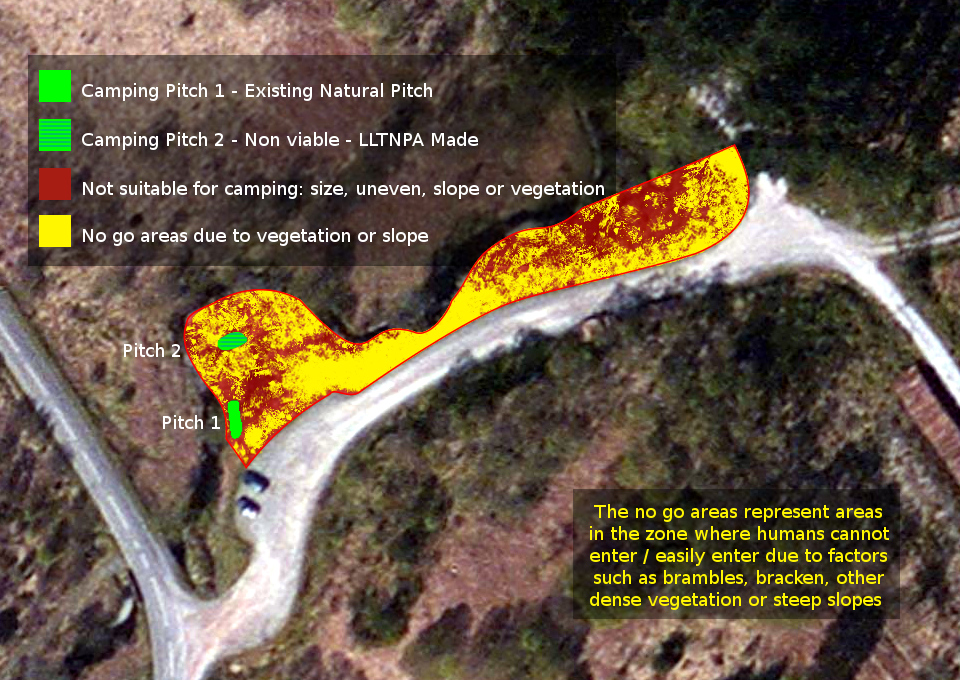 Diagram showing the poor access to Camping Zone M