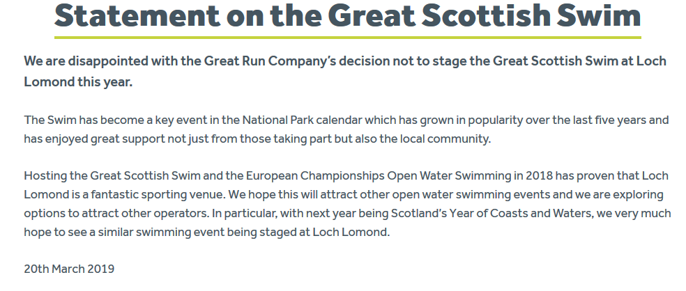 The collapse of the Great Scottish Swim - time for the Loch Lomond